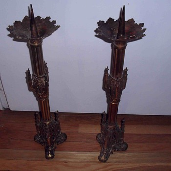 Old Church gothic brass candlesticks. - Lamps