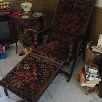 Victorian Carpet Back Lawn Chair 1800's