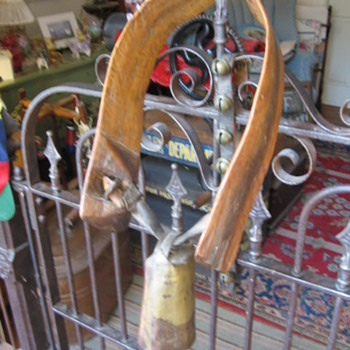 Antique Oak Carved Cowbell - Musical Instruments