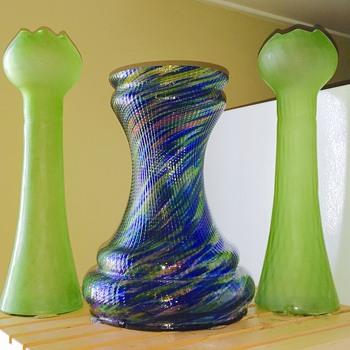 Rindskopf Hyacinths & Bohenian Blue Rainbow Twist Vases  - Art Glass