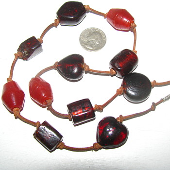 Old Glass Trade (?) Bead Necklace. Large Translucent Red & Opaque Orange... Leather cord.