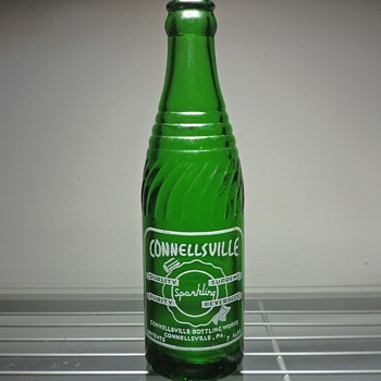1952 Connellsville Sparkling Beverages Soda Bottle Glenshaw Glass Green 7 Ounces Vintage Pennsylvania - Bottles