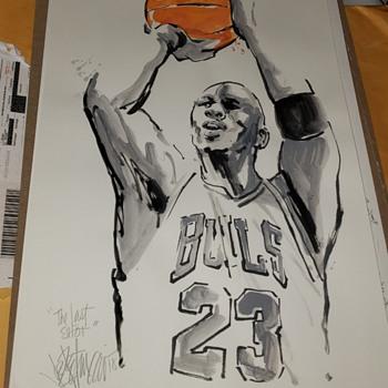 Joe Pettrucio art Michael Jordan Last shot - Basketball