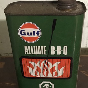 GULF charcoal starter metal can. - Advertising