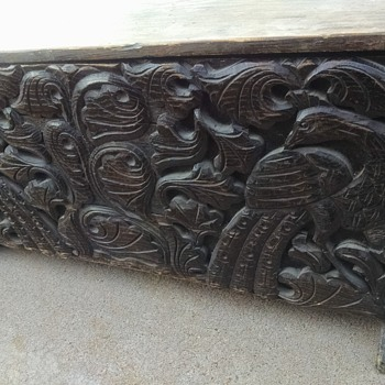 Beautiful Carved Peacock Chest - Furniture