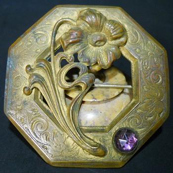 Art Nouveau Flower, Amethyst Purple Glass Stone, Sash Brooch  - Art Nouveau