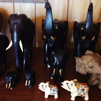 12 Elephants and 2 water buffalo!  From Garage sale, Why did I buy these? Maybe I need Help! - Animals