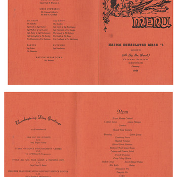 29th Signal Battalion Germany  Thankgiving menu and napkin - Military and Wartime