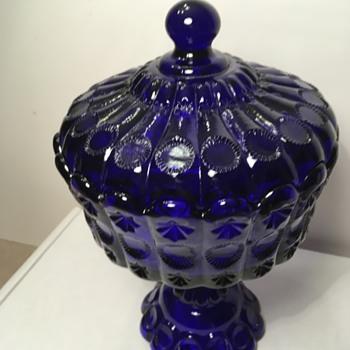 Dalzall Viking Cobalt Blue Covered Candy Dish - Glassware