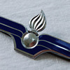French Blue Enamel Torch Pin, Drago
