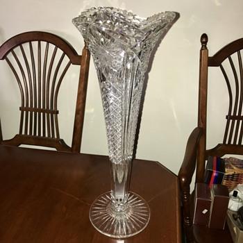 "Libbey Signed 18"" Cut Glass Vase  - Glassware"