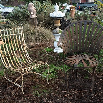 Two antique garden chairs