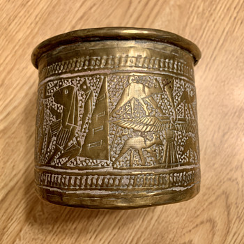 Brass container with Egyptian images - Office