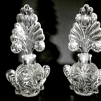 """Pair of 7"""" Imperial or U.S. Glass for Irice Fan Perfume Bottles/Circa 1930-40"""