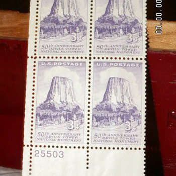 1956 50th Anniversary of Devils Tower National Monument - 3¢ Postage Stamps