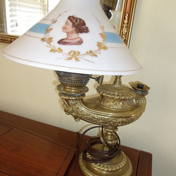 Antique Heavy Genie Lamp base with Painted Glass Shade