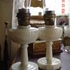 1930's  Alacite Tall Lincoln Drape Aladdin Oil Lamps