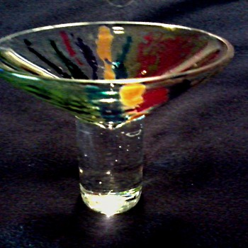 Small Art Glass Sherbert-Compote-Pedestal Dish /Colorful Spatter Pattern Bowl / Signed /Unknown Age - Art Glass