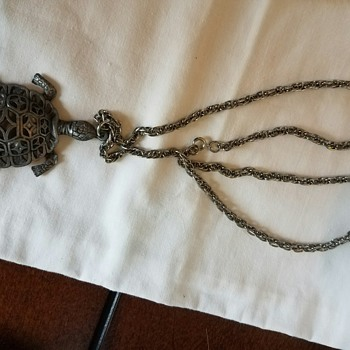 Vintage Turtle Pendant on Long Chain - No Marks??