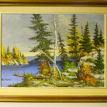 "Muskoka Lake Autumn , Landscape painting on Board""Cole Bowman""Canadian Artist, Circa 1960-70 - Fine Art"
