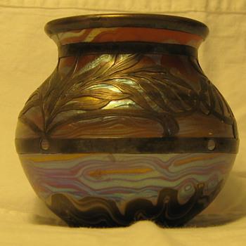 """Signed """"Alvin 892/358"""" Silver Overlay Mini Vase - Art Glass"""