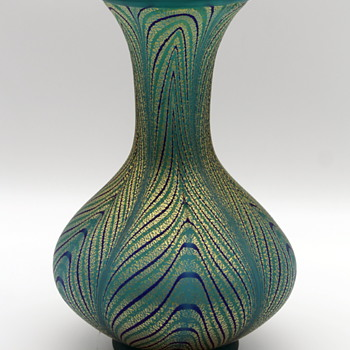 Pulled feather vase by Hisatoshi Iwata circa 1980 - Art Glass