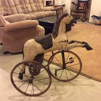Horse tricycle, no identifying badges or printing anywhere - Toys