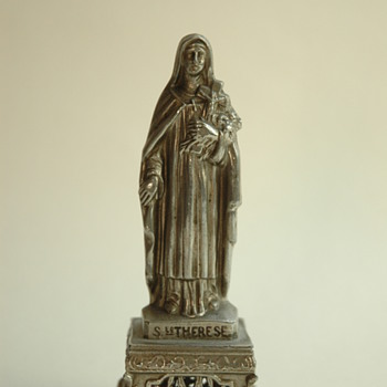 antique french SAINTE THERESE spelter figure - Figurines