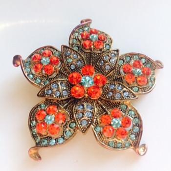 flower citrine-orange broooch - Costume Jewelry