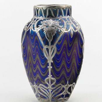 Loetz PN II-72 Vase with PG 6893 Décor & Silver Overlay ca 1898 - Art Glass