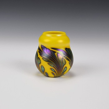 CHARLES LOTTON MANDARIN YELLOW MINI VASE - Art Glass