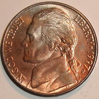 us error coin sale,1997-p Improper Annealing jefferson nickel error shiney red copper look  - US Coins