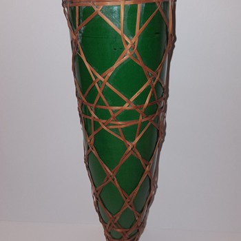 Awaji Pottery Wall Pocket Vase With Basketry - Asian