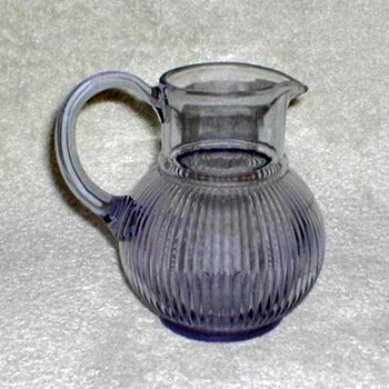 Amethyst Glass Ribbed Pitcher - Glassware