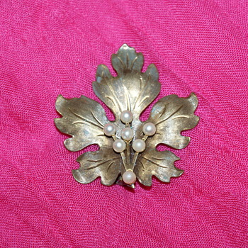 Vintage Brass and Faux Pearls Brooch - Costume Jewelry
