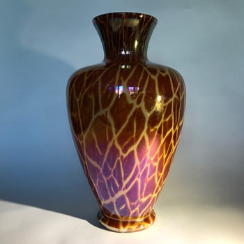 Large Kralik Giraffe Décor Vase - Art Glass