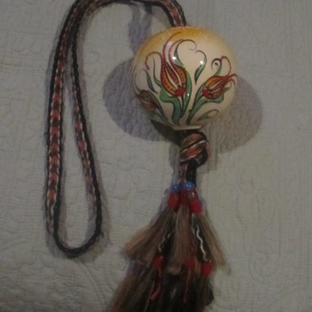 Ephesus Hand Painted Turkish Hanging Floral Ornament. Braided, Beads go through top/bottom.  - Pottery