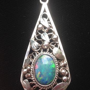 Rhoda Wager Silver Opal Pendant/ Necklace - Art Deco