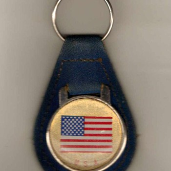 1970's - U.S. Flag Keyfob with Ring - Blue