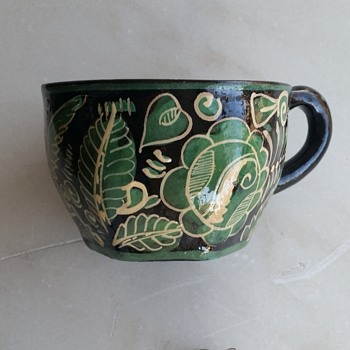 Pottery cup and earrings from Mexico - Pottery