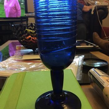 Blue glass goblet - Glassware