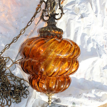 Swag or pendant lamp with brass cherub