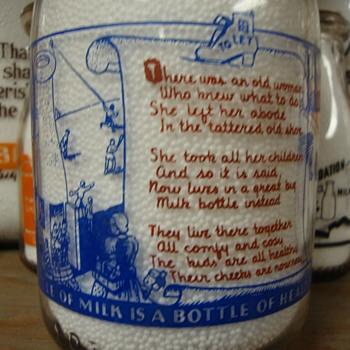SANITARY DAIRY...WARREN OHIO...2 COLOR NURSERY RHYME CREAM TOP - Bottles
