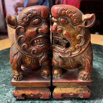 Pair of Fierce Buddhist Lions - Shi shi or Foo Dogs - Asian