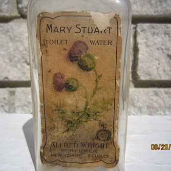 Late 1800's Mary Stuart Toilet Water Alfred Wright Perfumers New York St. Louis Bottle w/ Label - Bottles