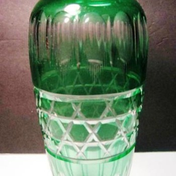 Durand Emerald Green Cut to Clear Vase c.1925. - Art Glass