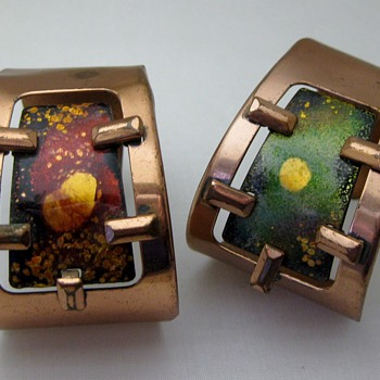 Mid-century atomic asymetrical copper enamel cuffs by Matisse - Costume Jewelry