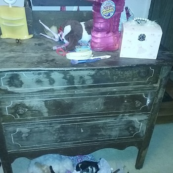 Wood dresser with wood wheels and beveled draws - Furniture