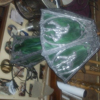 green slag lamp would like to knw more about it please value date made  - Lamps