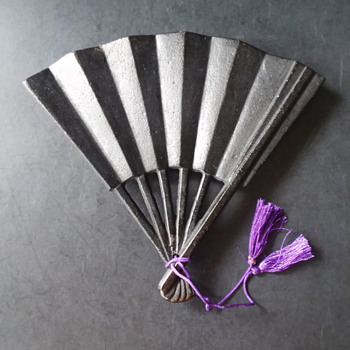 Japanese Nanbu Tekki cast iron fan nabeshiki  - Asian